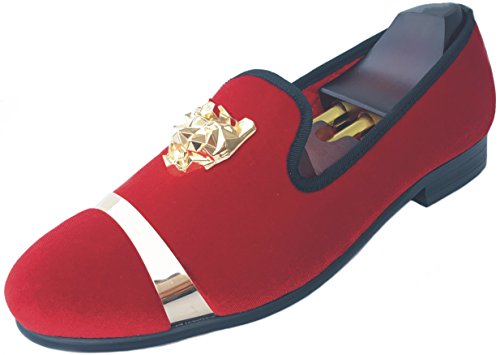 - Men's Velvet Loafers Slippers with Gold Buckle Wedding Dress Shoes Slip-on Smoking Flats (11, Red)