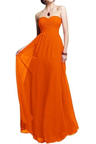 Diseño en forma de corazón de la Toscana de novia vestidos de gasa por la noche vestido de largo bola para mujer vestidos de fiesta naranja