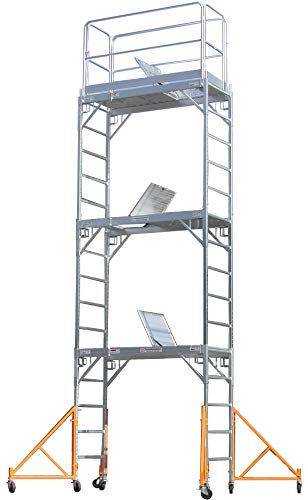 Lock Rail Guard (CBM Scaffold Aluminum Scaffold Rolling Tower 17' Standing Deck High with Guard Rail, Hatch door, U Locks,)