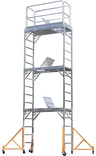 Rail Lock Guard (CBM Scaffold Aluminum Scaffold Rolling Tower 17' Standing Deck High with Guard Rail, Hatch door, U Locks,)