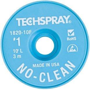 "Techspray 1820-10F No-Clean Desoldering Braid, .035"" x 10'"