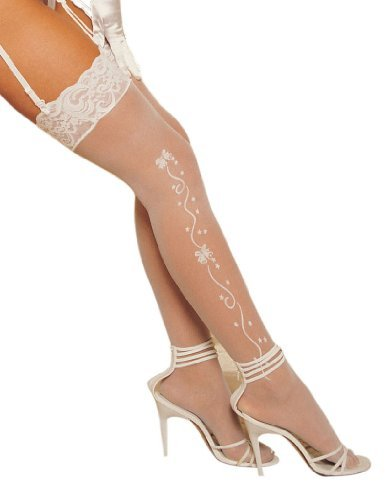 Shirley of Hollywood Number 90054 One Size White Thigh High Wedding Bell Stocking by Shirley of -