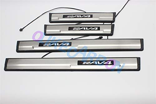 OLIKE for Toyota RAV4 2014 15 16 2017 2018 Fashion Style ABS+ Stainless Steel LED Door Sill Scuff Plate Guard Sill Protector Trim