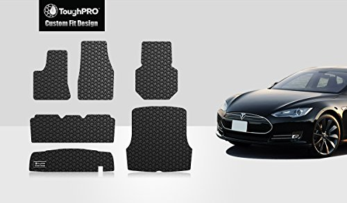 ToughPRO Tesla Moels S Floor Mats Set + Trunk Mat & Storage Mat - All Weather- Heavy Duty - Black Rubber -2012-2015