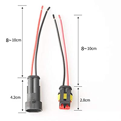 10 Kit 2 Pin Way Car Waterproof Electrical Connector Plug with 10cm Wire 17 AWG Marine, Real Conductor 1.2mm / 17 AWG Wire Match 16 18 AWG Electrical Wire: Automotive