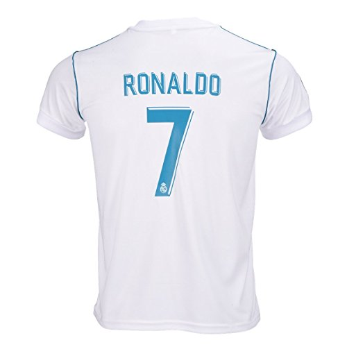 Official Soccer Jersey - #7 Ronaldo Real Madrid Home Kid Soccer Jersey & Matching Shorts Set 2016-17,White,Youth S (6 to 8 Years Old)