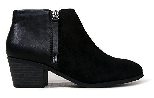 Heel Black Boot Closed Ankle Bootie Uz Lexy Toe Low Adams Western Casual Suede J Stacked C1wqBxY