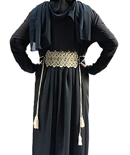 Coolred-femmes Musulmanes Islamic Casual Brodé Robes Maxi Manches Longues Arab As2
