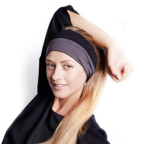 (BLOM Original Multi Style Headband. for Women Yoga Fashion Workout Running Athletic Travel. Wear Wide Turban Thick Knotted + More. Comfort Stretch & Versatility. (Charcoal & Black))
