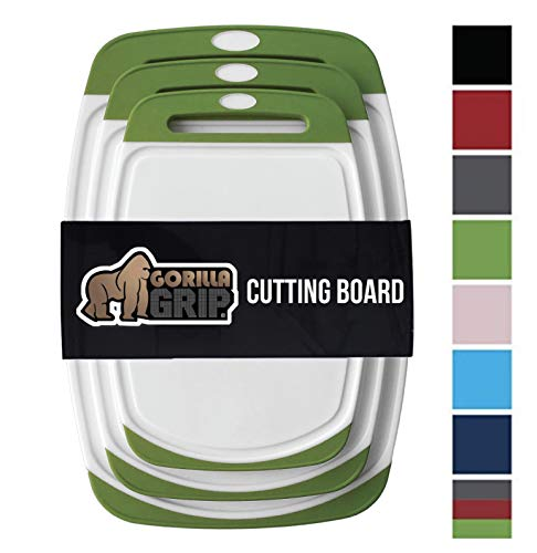 GORILLA GRIP Original Reversible Cutting Board (3-Piece), BPA Free, Dishwasher Safe, Juice Grooves, Larger Thicker Boards, Easy Grip Handle, Non Porous, Extra Large, Kitchen (Set of Three: Green)