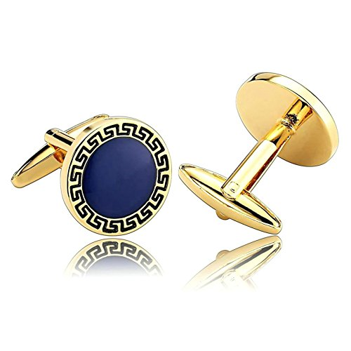 Aooaz Mens Cufflinks ACubic Zirconia Greek Key Round Stainless Steel Cufflinks Gold Blue With Gift Box