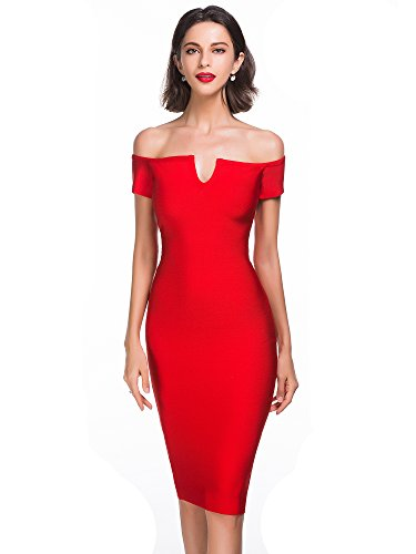 Alice & Elmer Women's Rayon Strapless Knee Length Off Shoulder Bandage Dress Red L