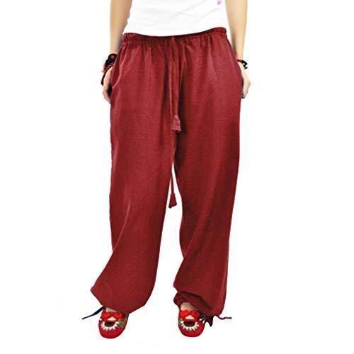 Large Taille Loose Yoga Elastique Pantalons Fit Pantalon Leggings Casual lgant Femme Longs Lin Confortable Rouge Pantalon Jambe en vvrBqPZ
