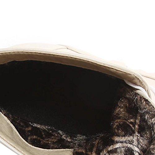 Aiyoumei Womens Mode Bout Pointu Bottine Mince Talon Automne Hiver Lacets Cheville Bottes Beige