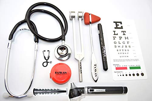 TAXXAN OTOSCOPE, DUAL-HEAD STETHOSCOPE, TAYLOR HAMMER, C128 TUNING FORK, LED MEDICAL PENLIGHT, SNELLEN POCKET PLASTIC EYE CHART, TAPE MEASURE compatible with any Otoscope Ophthalmoscope
