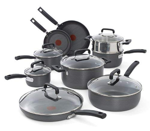 T-fal C770SF Signature Hard Anodized Scratch Resistant PFOA Free Nonstick Thermo-Spot Heat Indicator Cookware Set, 15-Piece, Gray For Sale