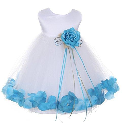 iGirlDress Baby Girls Satin Bodice Flower Pageant Petal Dress Infant 12mos White/Aqua