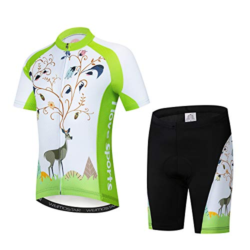 Kids Cycling Jersey Set Cartoon Short Sleeve Bike Shirt Top for Boy Girl Padded Shorts Sika Deer Size XL ()