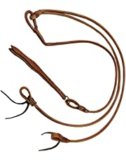 Saddles & Such New Herman Oak Harness Leather Stitched Romel Reins with Water Loops