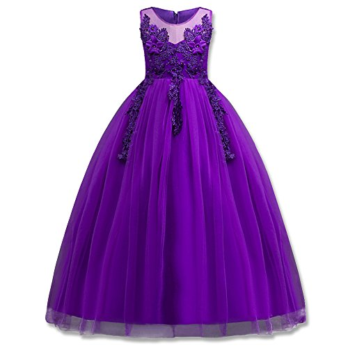 HUANQIUE Girl Embroidery Pageant Party Dress Kids Prom Ball Gown Purple 9-10 Years