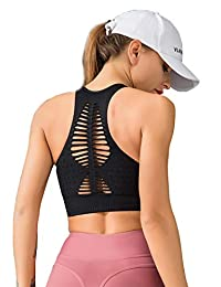 LOFHAS High Impact Support Sports Bras Padded Wide Straps Wirefree for Yoga Gym Workout