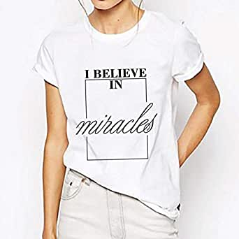 Unisex White T-Shirt - I believe in Miracles