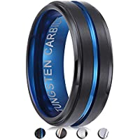 PINONLY Tungsten Carbide Rings Men Wedding Bands Women Tungsten Engagement Promise Black Blue Rose Gold 8mm 6mm Comfort Fit Engraved