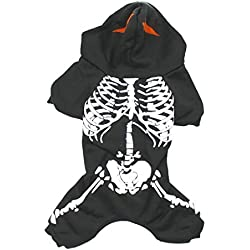 Scheppend Pet Spooky Skeleton Romper Costume for Dogs Hoodies Fancy Halloween Clothes, Black XL