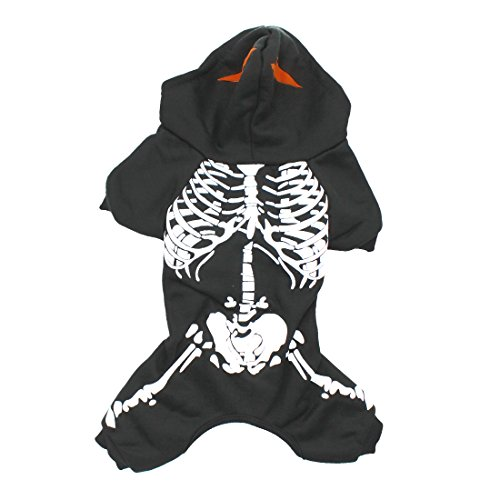 Scheppend Pet Spooky Skeleton Romper Costume for Dogs Hoodies Fancy Halloween Clothes, Black (Spooky Skeleton)