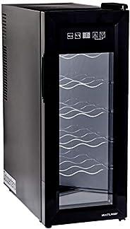 Adega Climatizada 127V com 65W Capacidade para 12 garrafas Display Digital e Luz de LED Interna Preto Multilas