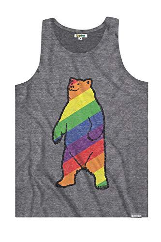 (Tipsy Elves Men's Grey Gay Bear Don't Care Tank Top - Pride Shirt: S)