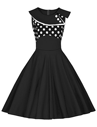plisada Là noche Negro Punto verano Vestido de Falda Negro mujer retro de Rockabilly Swing Vestido mangas de de de sin Vestmon para Lunares fiesta Vestido Vestido blanco cóctel Vestido ZxSqZg7r