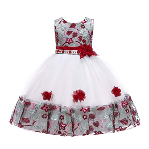 JIANLANPTT Elegant Wedding Bridesmaid Kids Dresses for Girls Tulle Lace Flower Appliques Party Frock Dress 2-3Years White Vintage Red