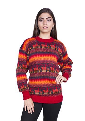 Raymis Peruvian Women´s Red Hand Knit Alpaca Llama Sweater Cardigan (Medium)