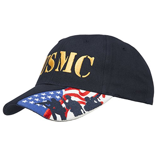 Army Force Gear Embroidered Marine Corps USMC Baseball Cap Hat, Navy with American Flag