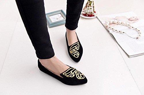 Mariposa bordado zapatos zapatos de los guisantes señalaron los solos zapatos zapatos femeninos de las sandalias de señora comerciales cucharada Black