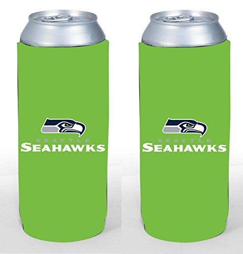 NFL Football 2015 Team Color Logo Tall Boy 24 oz Can Holder Koozie Cooler 2-Pack (Seattle Seahawks)
