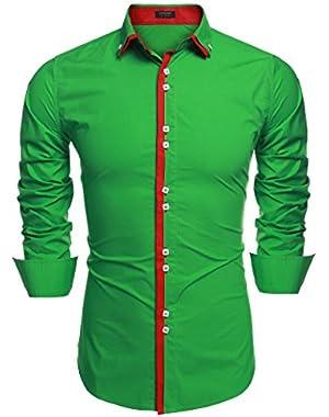 Mens Button Down Shirts Regular Fit Long Sleeve Cotton Casual Dress Shirts