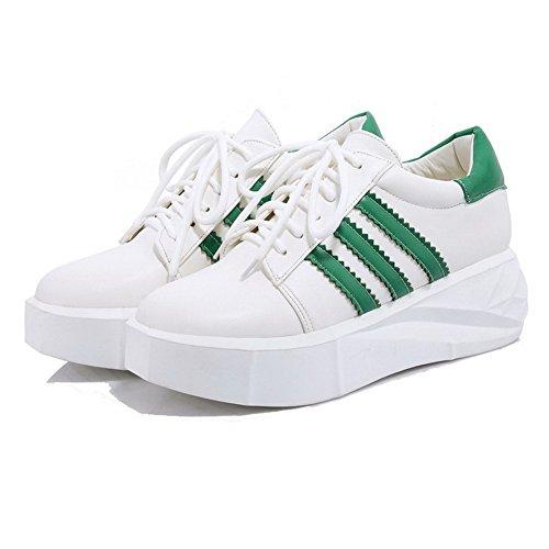 Absatz Gemischte Leder Grün Pumps Schnüren Damen AllhqFashion Schuhe Farbe Zehe Rund PU Mittler xwTYXXzq