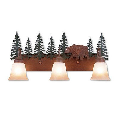 Vanity Light Lodge Unique Handmade in USA | Wasatch Triple - Bear | H32326TT-03 | Avalanche Ranch Lighting