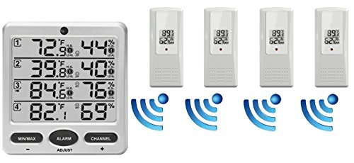 (Ambient Weather WS-10-X4 Wireless Indoor/Outdoor 8-Channel Thermo-Hygrometer with Four Remote)