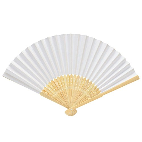 Nrpfell 20 Pcs Fan White for Painting Calligraphy DIY Gift Decoration White