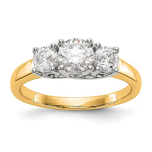 Two Tone Engagement Ring Mounting - 14K Two-tone 3-Stone Diamond Engagement Ring Mounting Size 7 Length Width