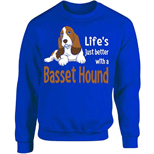 Lifes Just Better with A Basset Hound - Adult Sweatshirt M Royal ()