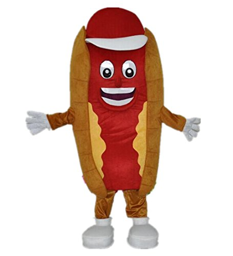 MascotShows Hot Dog & Pizza Mascot Costume Adult Size Halloween Fancy Dress Suit (Hot (Pizza Mascot Costumes)