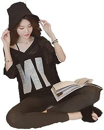 أزياء فضفاضة الخامس الرقبة الأعلى حمالة قطعتين قصيرة الأكمام للترفيه المرأة