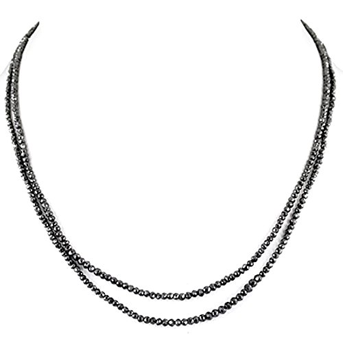 Barishh 2 Row 4mm Certified Black Diamond Beads Necklace 80 Cts. Excellent Shine AAA by Barishh