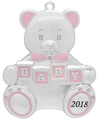 - Harvey Lewis 2018 Baby Girl Teddy Bear Baby's First Christmas (Engravable) Silver-Plated Ornament - Made 9 Swarovski Elements