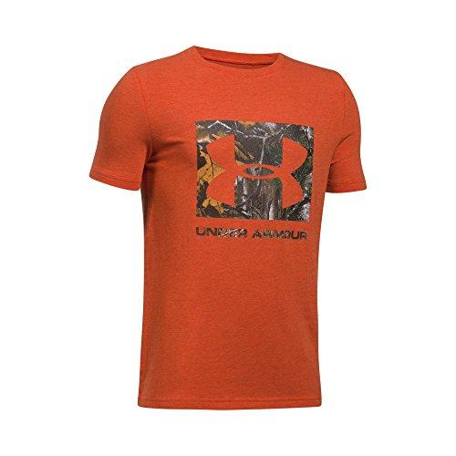 Under Armour Boys' Camo Fill T-Shirt, Blast Medium Heather/Black, Youth Small
