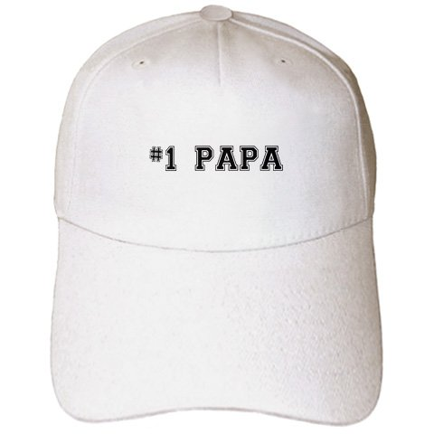 InspirationzStore Typography - #1 Papa - Number One Papa - for great and best dads - black college font text - good for Fathers Day - Caps - Adult Baseball Cap (cap_151602_1) (Twill Numbers)